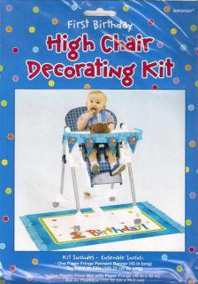 First 1st Birthday High Chair Decorating Kit Boy Girl