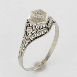 Art Deco Diamond Engagement Ring 18K White Gold Filigree Fine Vintage