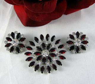 Vintage B David Rhinestone Brooch Pin Earrings Set Cat Rescue
