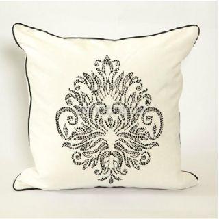 Velvet Flower Pattern Hot Drilling White Decorative Pillow Cover 18