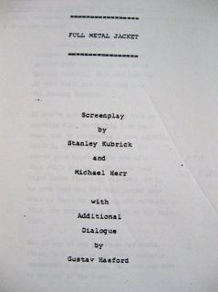 Movie Script Reprint Screenplay Full Metal Jacket Stanley Kubrick