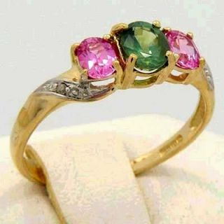 Natural Alexandrite Pink Sapphire Diamonds Ring 14k