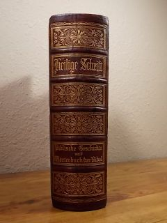 ANTIQUE HOLY BIBLE GERMAN MARTIN LUTHER GUSTAVE DORE WOOD & STEEL