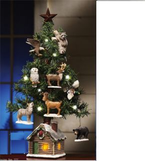 NEW MINI CHRISTMAS TREE DEER ANIMAL ORNAMENTS LIGHTED LOG CABIN DESK