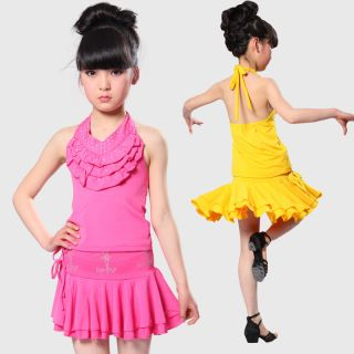 Ballroom Dance Girls Dancewear Costume Princess Dress Tutus