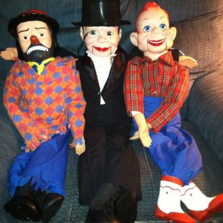 Ventriloquist Doll Lot Charlie McCarthy Howdy Doody and Emmett Kelly