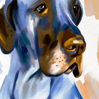 Great Dane Dog Portrait Original Painting Canvas Art Giclee Print