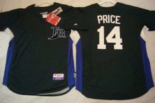 Majestic Tampa Bay Rays David Price Authentic BP Jersey Green Any Size