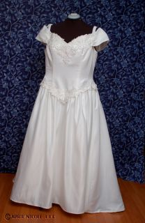 Davids Bridal Ivory Satin Off Shoulder Wedding Dress 22