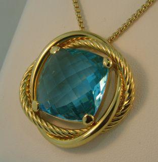 David Yurman Large 18K Gold Blue Topaz Pendant Necklace 27 5 Grams