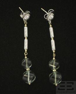 David Yurman Sterling Silver & 18K Gold Prasiolite Dangle Earrings