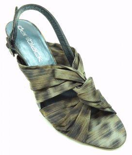 Daniblack Womens Vaine Black Leopard Fabric Print Wedge Sandal Size 8