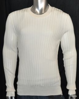 095 New Dolce Gabbana Cream Cashmere Wide Ribbed Crewneck Sweater