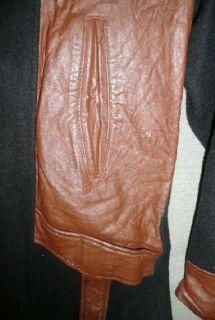 Originl Vtg 20s 1930s Mens Gangster Thug Wool Leather Coat Jacket w