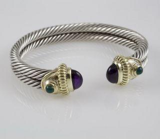 David Yurman 18K Gold & Silver Two Rows Cable Bracelet
