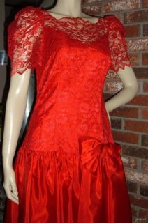 Vintage 80s s Red Lace Prom Dress Ruffles Bow Bridal Originals Puff