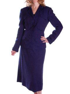 Vintage Cornflower Blue Wool Tweed Suit Davidow 1940s 40 28 40