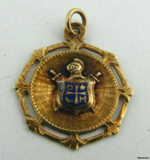 Vintage Demolay Pendant 10K Yellow Gold Open Cut Crest Star Moon Charm
