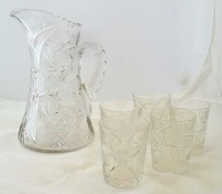 Cut Glass Lead Crystal Pitcher w 5 Water Glasses Tumblers 10 5