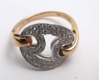 New Roberto Coin White Gold Rose Gold Diamond Marina Ring Size 7 $2240