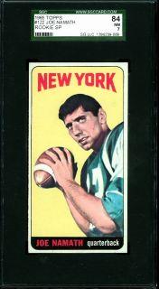 1965 Topps #122   Broadway Joe Namath (RC)   SGC 84   New York Jets
