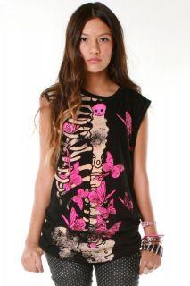 Abbey Dawn Avril Lavigne Ellie Skellie Skull Muscle Tee T Shirt