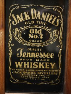 Vintage Jack Daniels No 7 Whiskey Advertising Glass Gold Wood Framed