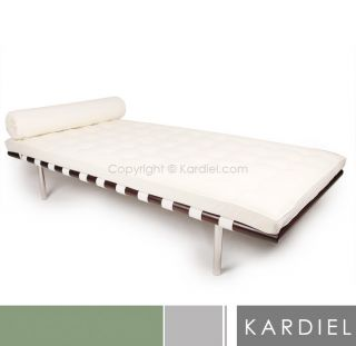 Barcelona Style Daybed 100 Premium White Leather Lounge Chair