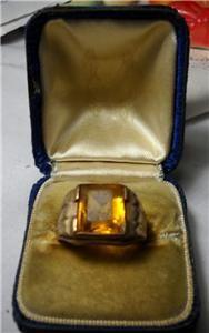 Antique 10 Karat 10K Mens Gold Ring Crosby