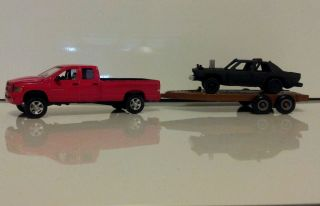 91 Square Body Crown Vic Demolition Derby Car w Truck Trailer