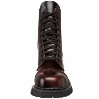 Demonia 1 Goth Punk Combat Burgundy Leather Mens Ankle Boots Rocky 10
