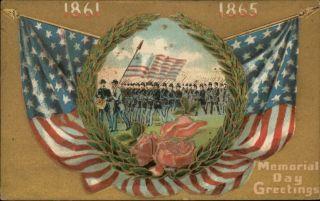 MEMORIAL DAY Civil War Soldiers American Flags c1910 Patriotic