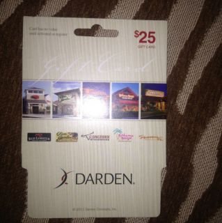 NEW! DARDEN $25 GIFT CARD  5 RESTAURANTS OLIVE GARDEN,RED LOBSTER