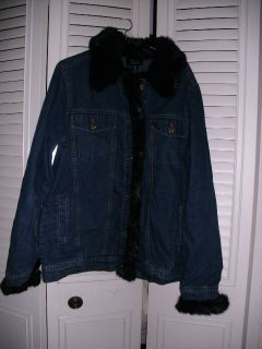 Dennis Basso s Denim Jean Jacket with Faux Fur Trim Coat Blazer Top