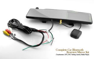 Complete Car Bluetooth Rearview Mirror Kit (Touchscreen, GPS, DVR