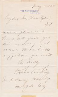 Calvin Coolidge Autograph Letter Signed As President   White House