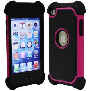DELUXE PROTECTOR PINK HARD SILICONE SKIN CASE COVER FOR IPOD TOUCH 4