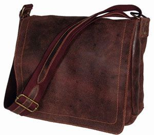 David King Distressed Leather North South Laptop Messenger Bag