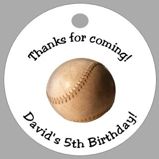 Baseball Sports 20 Personalized Favor Tags Birthday