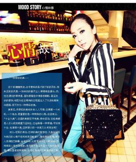 Tote PU Clutch Lady Fashion Sexy Cool Lux Punk Leopard Sequin