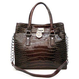 New Designer Inspired Brown Croco Hamilton Tote Shoulder Bag Hobo