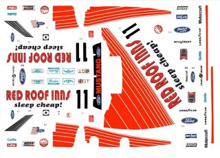 Roof Inns Roush Racing Mustang 1/43rd Scale Slot Car Waterslide Decals