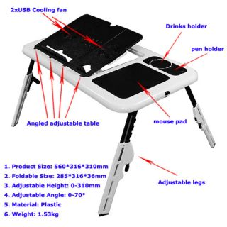 Portable Laptop Computer E Table Desk Tray Cooling Fan