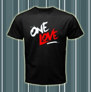 One Love Dj David Guetta Logos Men Black T shirt tee Size S 2XL