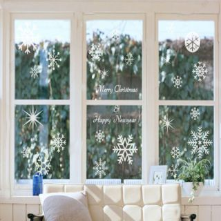 New Year Christmas Decorative Wall Stickers White Snowflake Removable