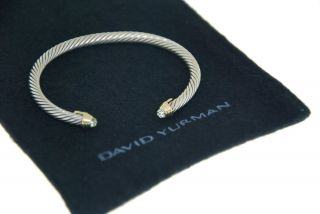 100% AUTHENTIC DAVID YURMAN 18K GOLD & 925 SILVER BLUE TOPAZ CABLE