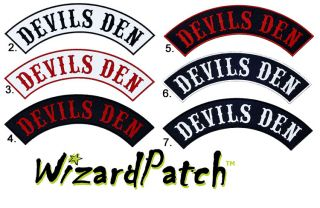 Devils Den Top Rocker Embroidered Patch MC Biker Vest Rocker Club Cut