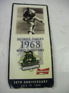 1968 Detroit Tigers World Series Championship 30th Anniversary Pin
