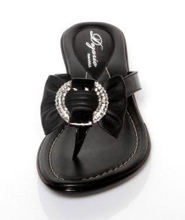 New Womens Dezario Cruz Black Pattern Thong Sandals Rhinestone Shoes 6