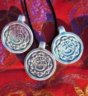 High Fired Hand Crafted Raku Pendant Necklace Buddha Head Symbol